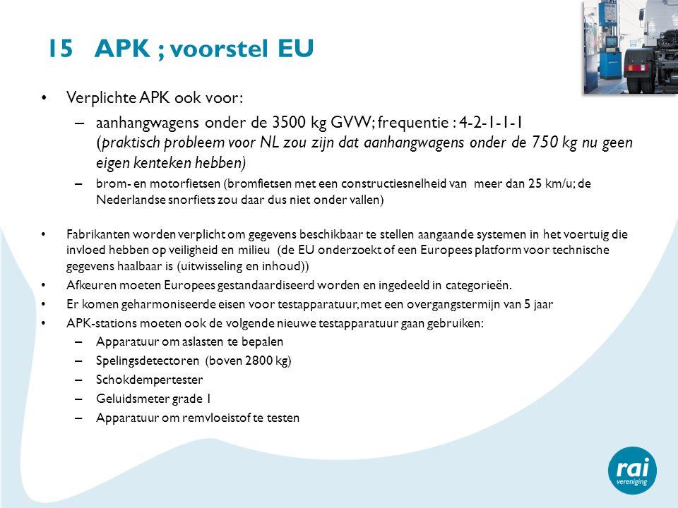 15 APK ; voorstel EU Verplichte APK ook voor: