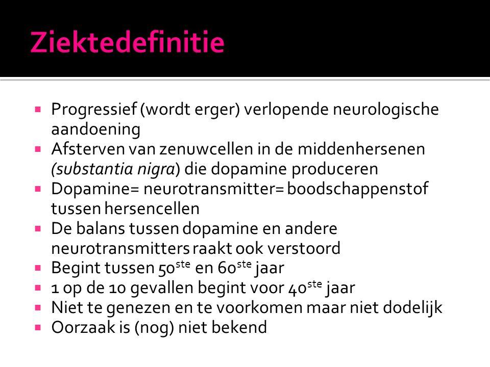 Ziektedefinitie Progressief (wordt erger) verlopende neurologische aandoening.
