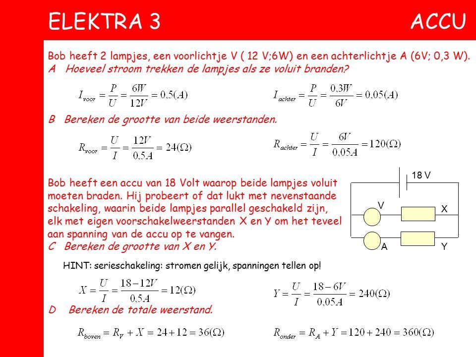 ELEKTRA 3 ACCU Bob heeft 2 lampjes, een voorlichtje V ( 12 V;6W) en een achterlichtje A (6V; 0,3 W).