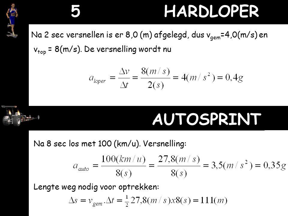 5 HARDLOPER Na 2 sec versnellen is er 8,0 (m) afgelegd, dus vgem=4,0(m/s) en. vtop = 8(m/s). De versnelling wordt nu.