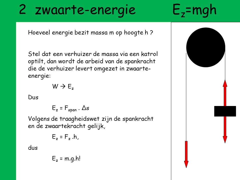 2 zwaarte-energie Ez=mgh