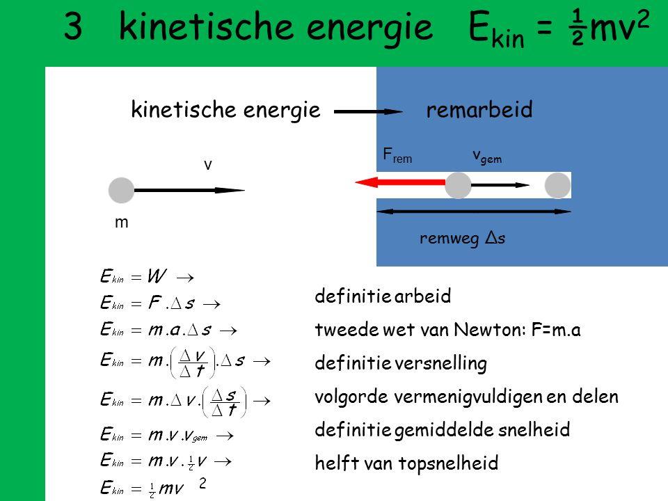 3 kinetische energie Ekin = ½mv2