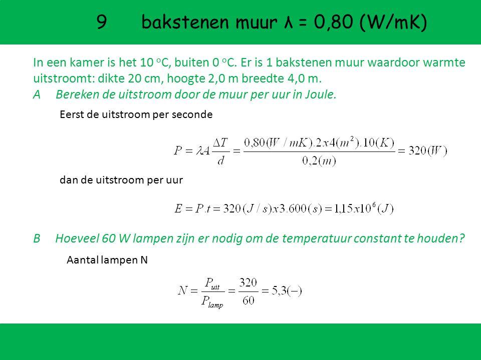 9 bakstenen muur λ = 0,80 (W/mK)