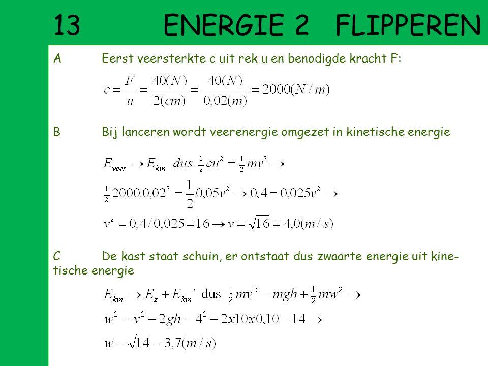 13 ENERGIE 2 FLIPPEREN A Eerst veersterkte c uit rek u en benodigde kracht F: