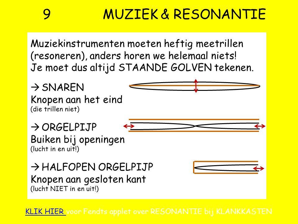 9 MUZIEK & RESONANTIE Muziekinstrumenten moeten heftig meetrillen (resoneren), anders horen we helemaal niets!