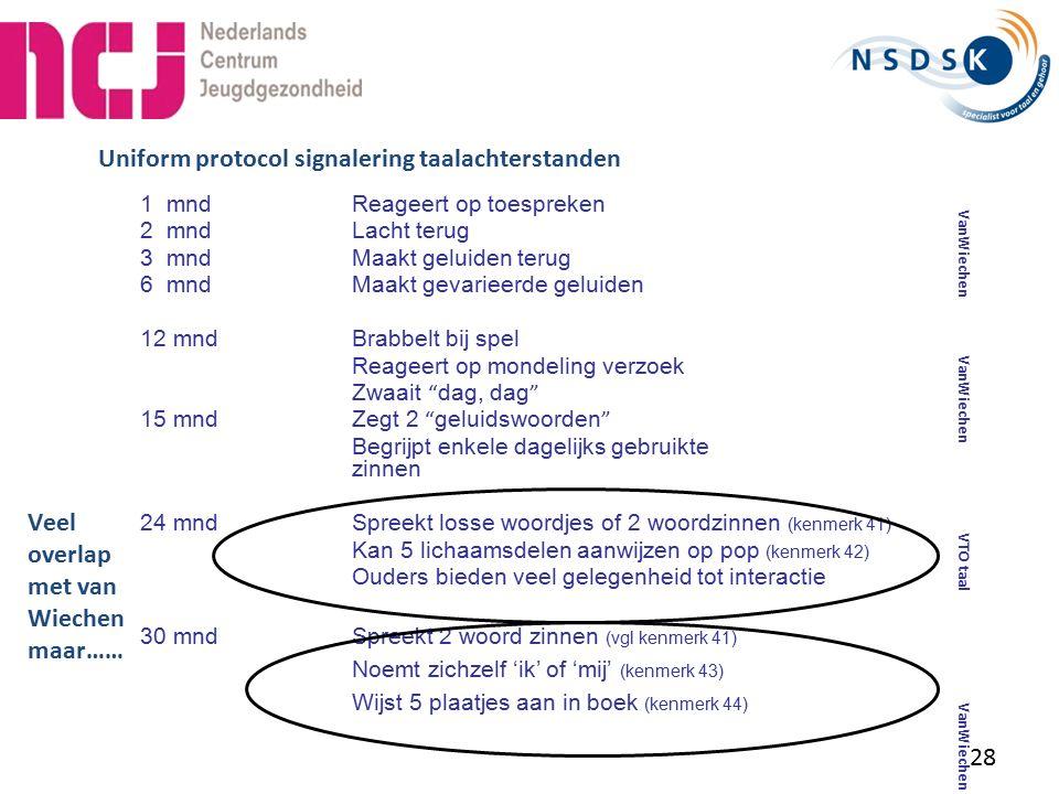 Uniform protocol signalering taalachterstanden