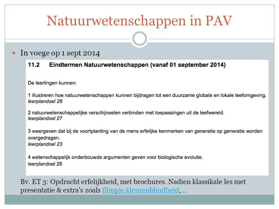 Natuurwetenschappen in PAV