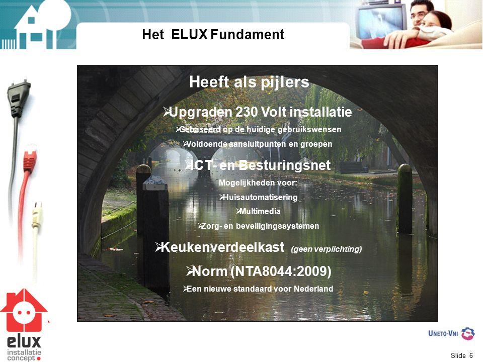 Heeft als pijlers Het ELUX Fundament Upgraden 230 Volt installatie