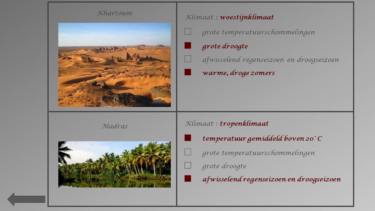 Khartoum Klimaat : woestijnklimaat. grote temperatuurschommelingen. grote droogte. afwisselend regenseizoen en droogseizoen.