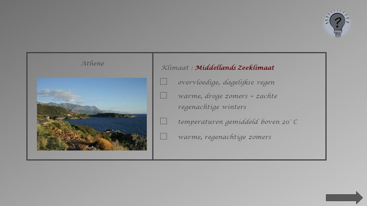 Athene Klimaat : Middellands Zeeklimaat. overvloedige, dagelijkse regen. warme, droge zomers + zachte regenachtige winters.