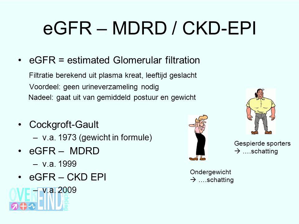 eGFR – MDRD / CKD-EPI eGFR = estimated Glomerular filtration