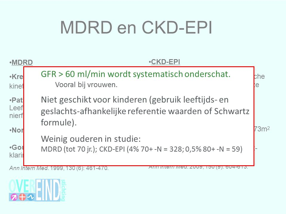 MDRD en CKD-EPI GFR > 60 ml/min wordt systematisch onderschat.