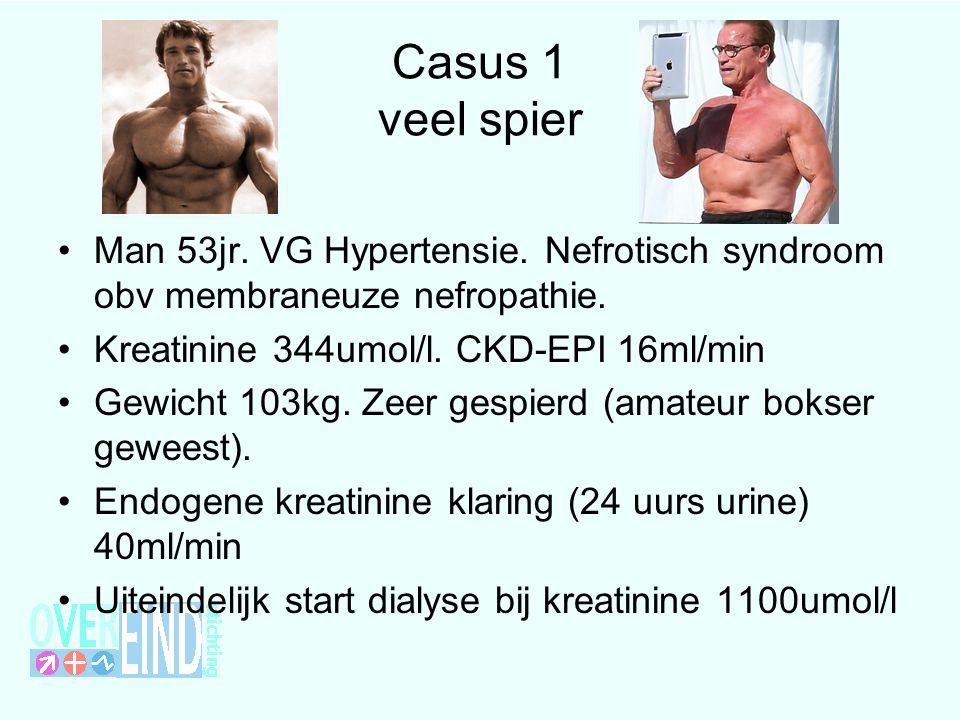 Casus 1 veel spier Man 53jr. VG Hypertensie. Nefrotisch syndroom obv membraneuze nefropathie. Kreatinine 344umol/l. CKD-EPI 16ml/min.