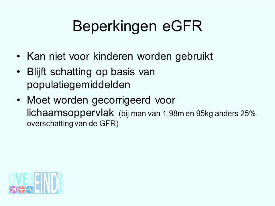 Beperkingen eGFR Kan niet voor kinderen worden gebruikt