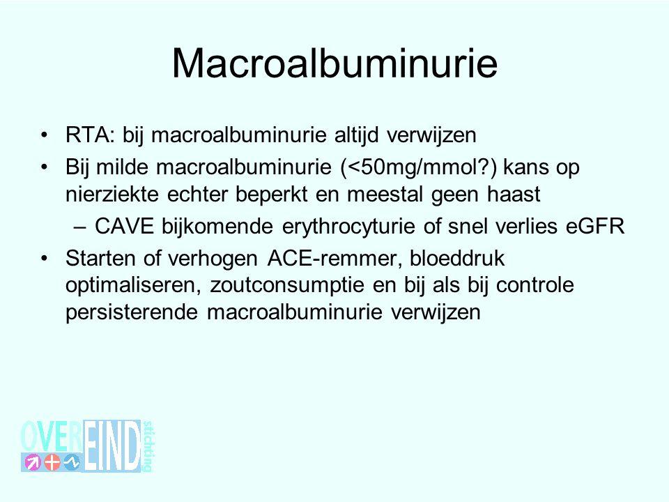 Macroalbuminurie RTA: bij macroalbuminurie altijd verwijzen