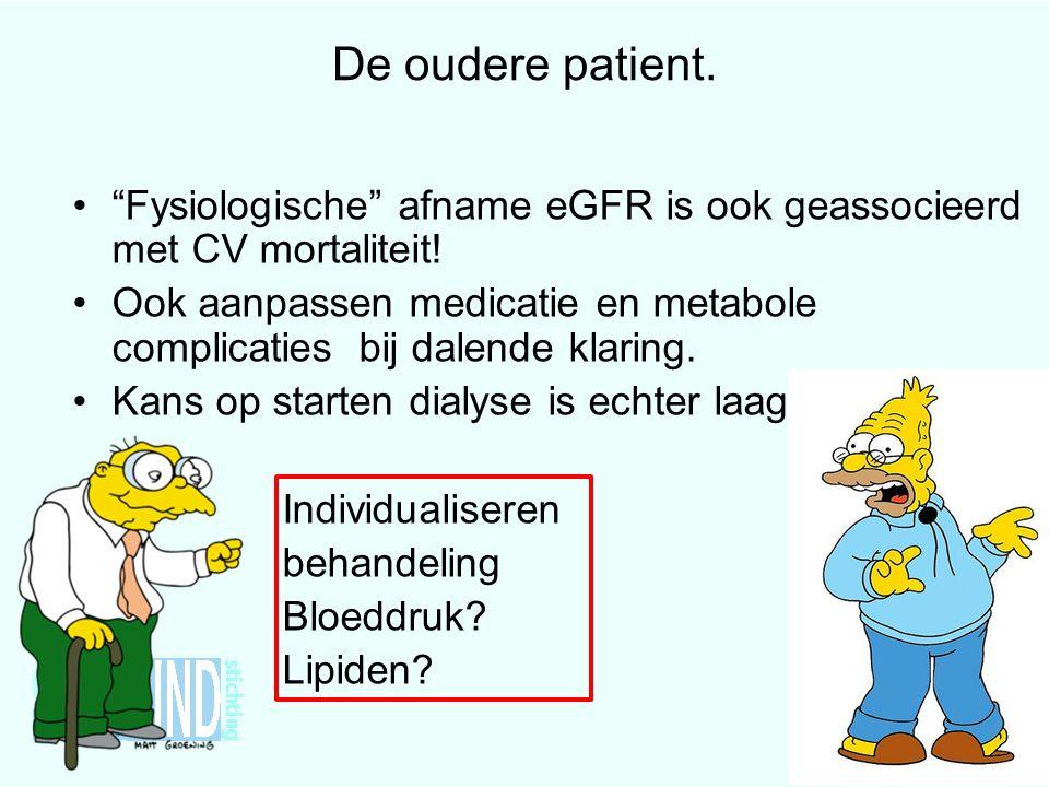 De oudere patient. Fysiologische afname eGFR is ook geassocieerd met CV mortaliteit!