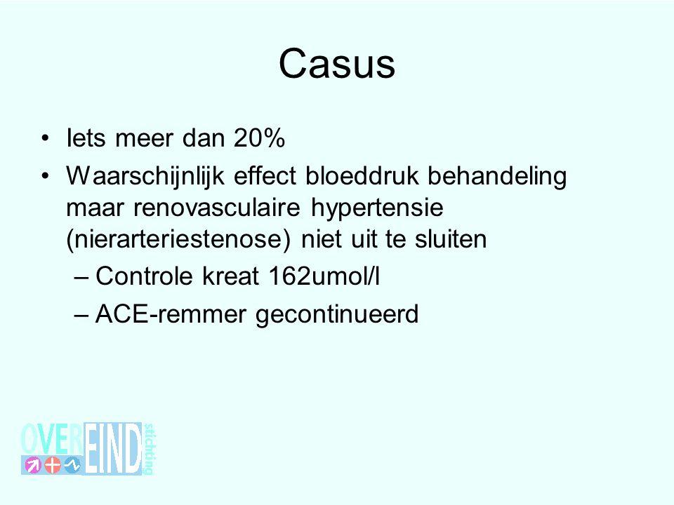 Casus Iets meer dan 20% Waarschijnlijk effect bloeddruk behandeling maar renovasculaire hypertensie (nierarteriestenose) niet uit te sluiten.