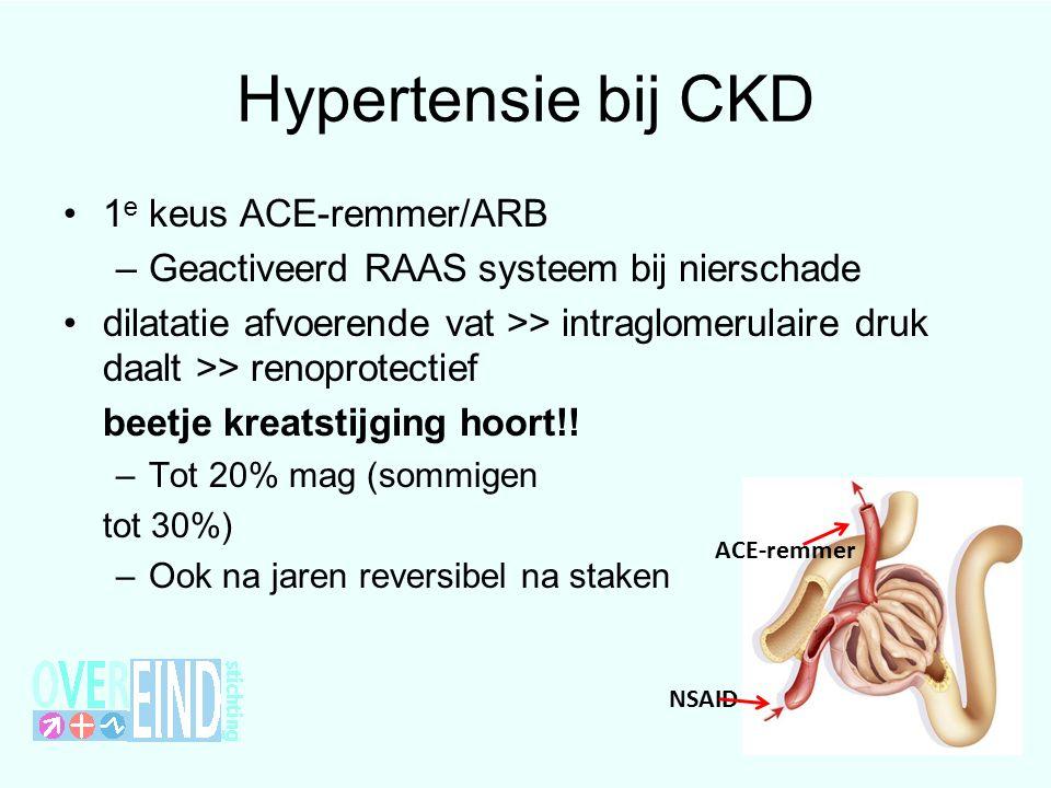 Hypertensie bij CKD 1e keus ACE-remmer/ARB