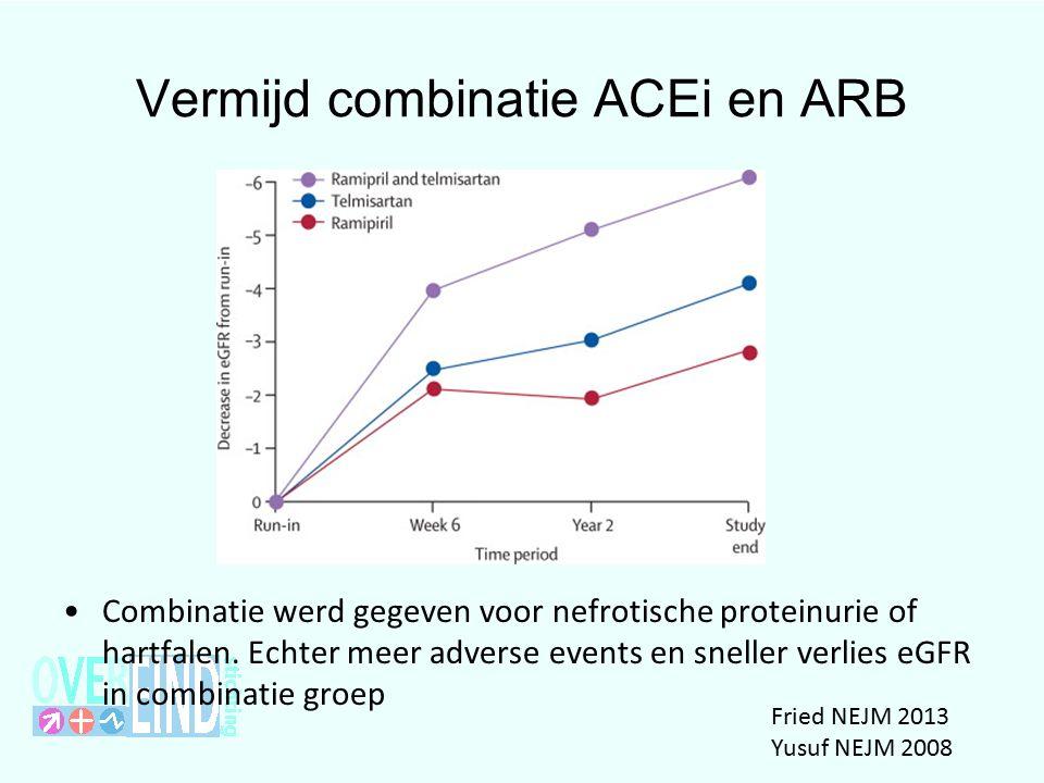 Vermijd combinatie ACEi en ARB