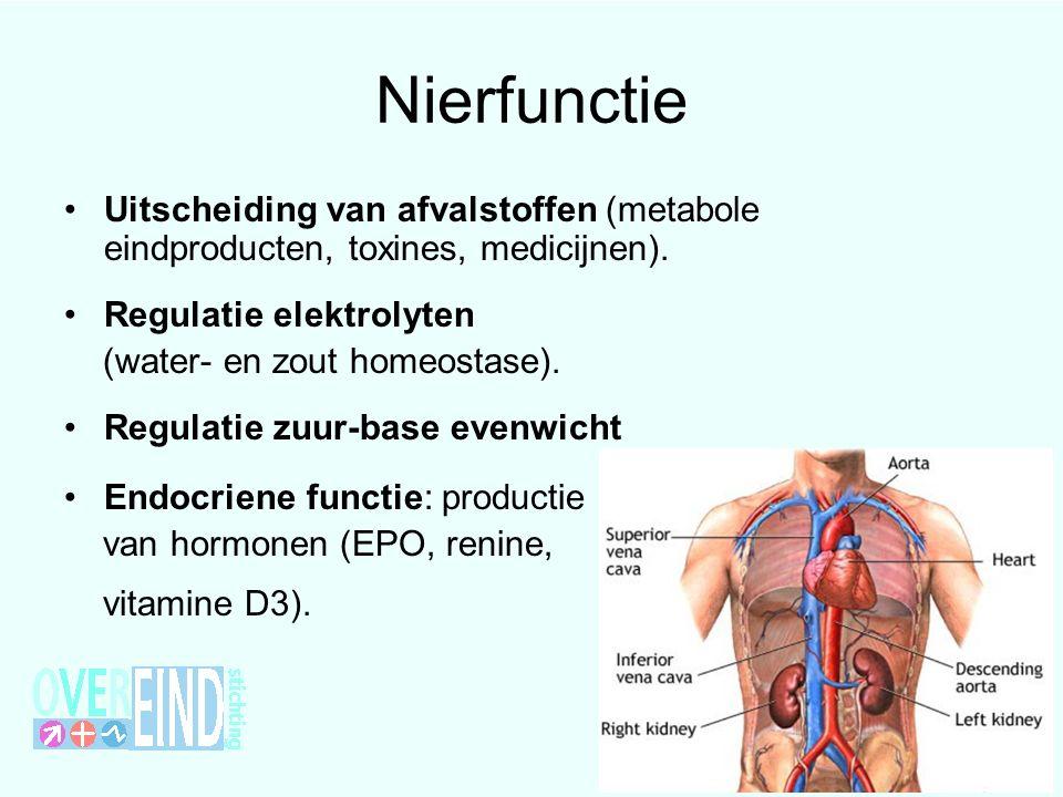 Nierfunctie Uitscheiding van afvalstoffen (metabole eindproducten, toxines, medicijnen). Regulatie elektrolyten.