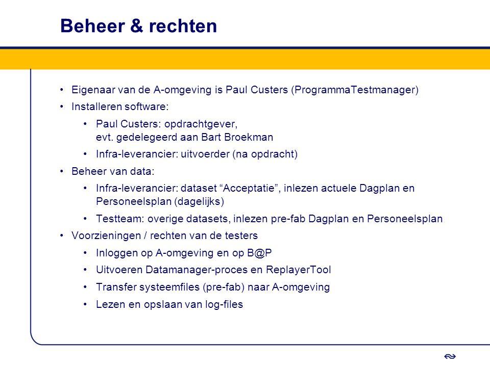 Beheer & rechten Eigenaar van de A-omgeving is Paul Custers (ProgrammaTestmanager) Installeren software: