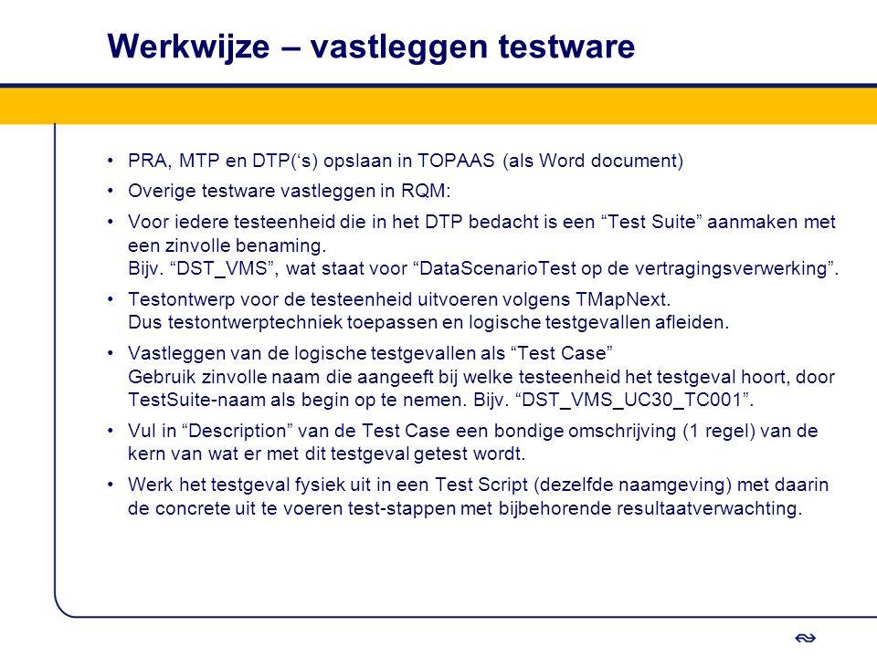 Werkwijze – vastleggen testware