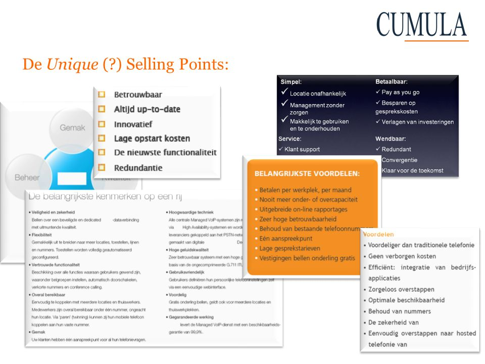 De Unique ( ) Selling Points: