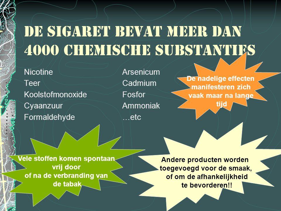 De sigaret bevat meer dan 4000 chemische substanties