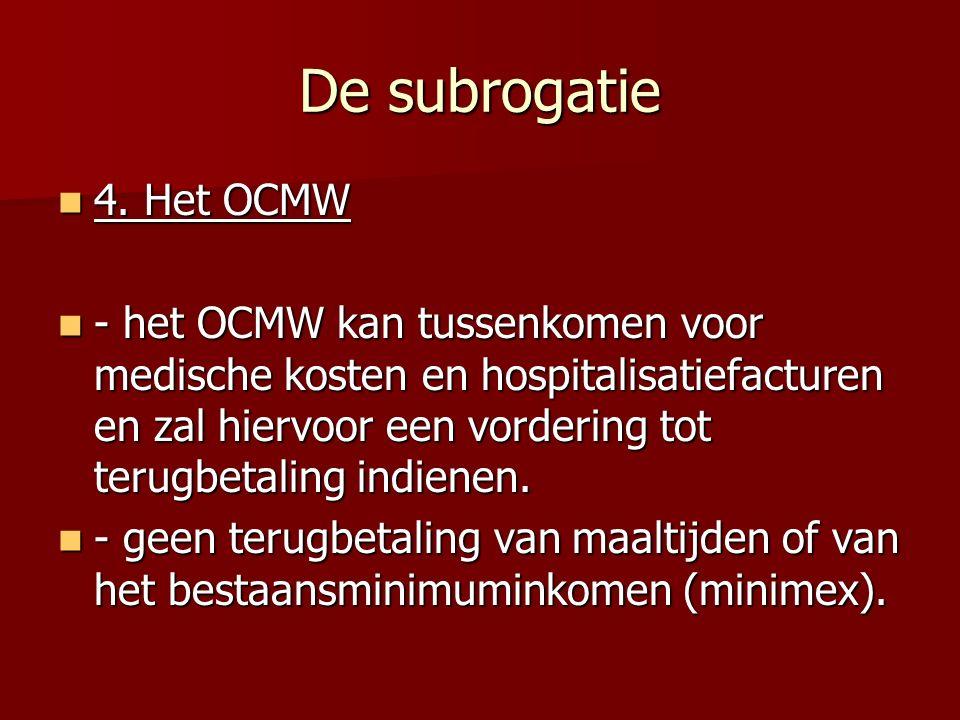 De subrogatie 4. Het OCMW.