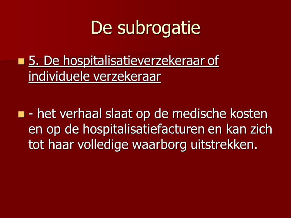 De subrogatie 5. De hospitalisatieverzekeraar of individuele verzekeraar.