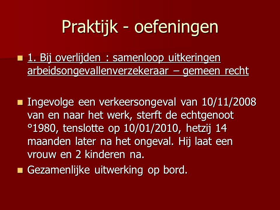 Praktijk - oefeningen 1. Bij overlijden : samenloop uitkeringen arbeidsongevallenverzekeraar – gemeen recht.