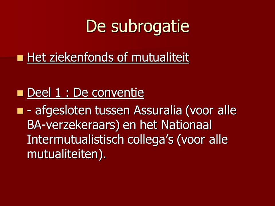 De subrogatie Het ziekenfonds of mutualiteit Deel 1 : De conventie
