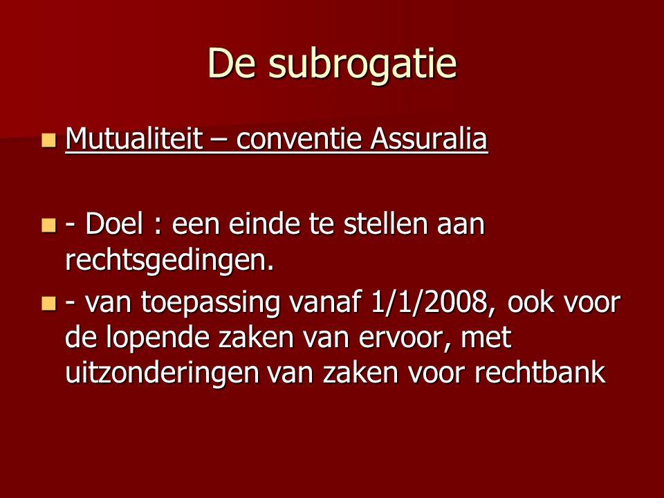 De subrogatie Mutualiteit – conventie Assuralia