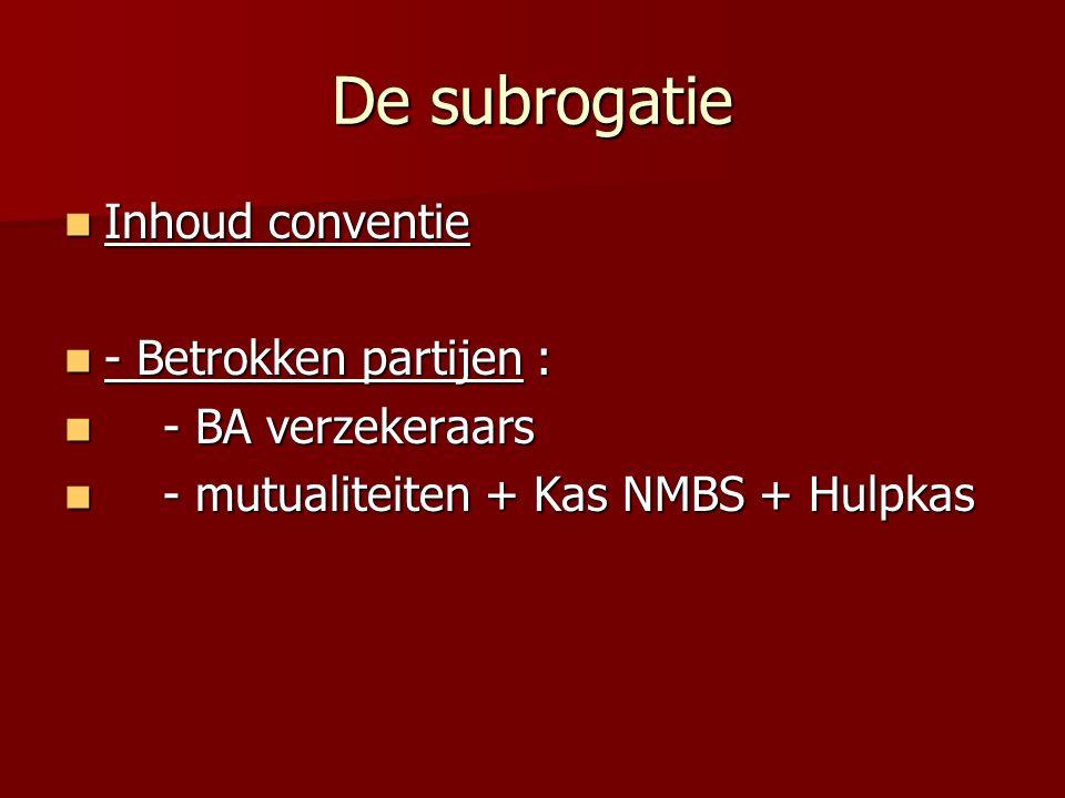 De subrogatie Inhoud conventie - Betrokken partijen :