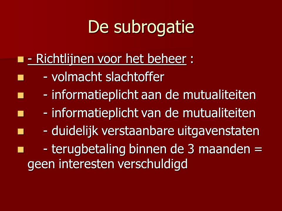 De subrogatie - Richtlijnen voor het beheer : - volmacht slachtoffer