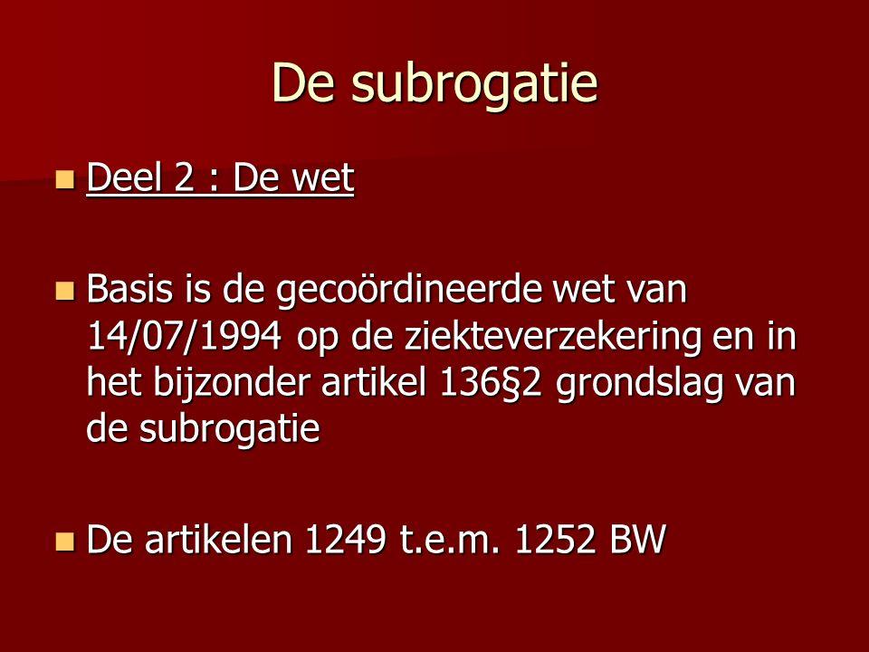 De subrogatie Deel 2 : De wet
