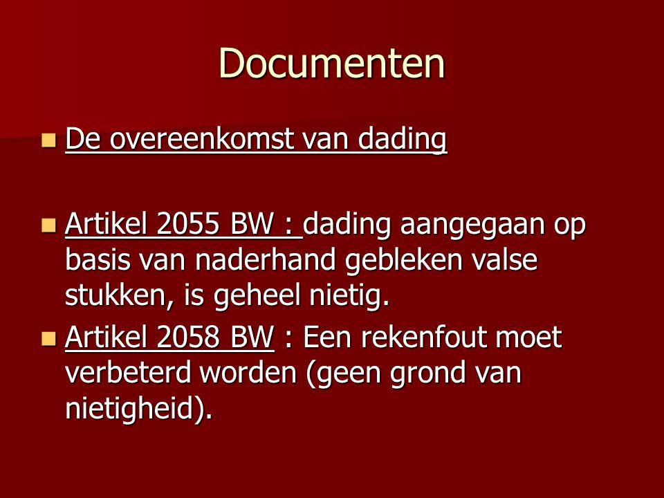 Documenten De overeenkomst van dading