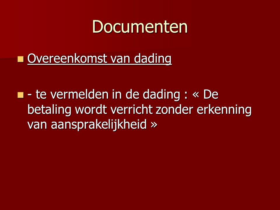Documenten Overeenkomst van dading