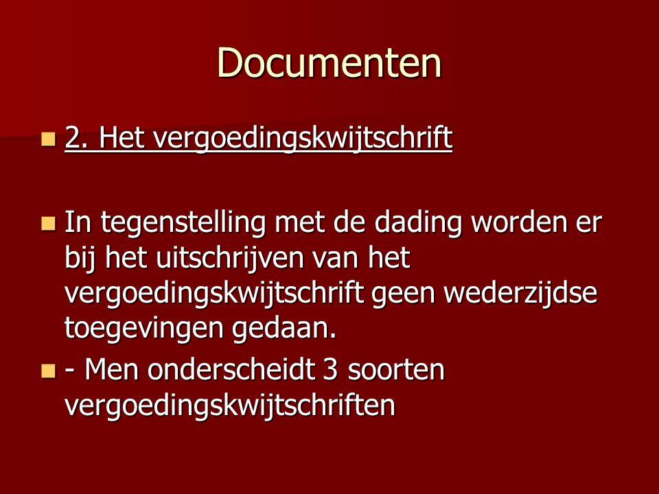 Documenten 2. Het vergoedingskwijtschrift