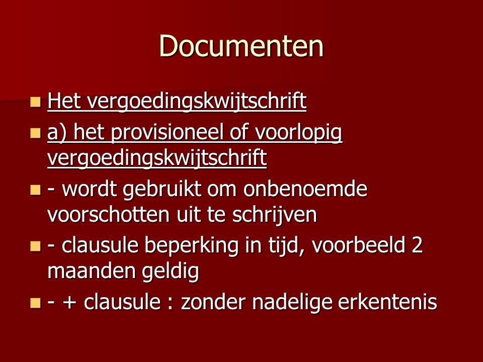 Documenten Het vergoedingskwijtschrift