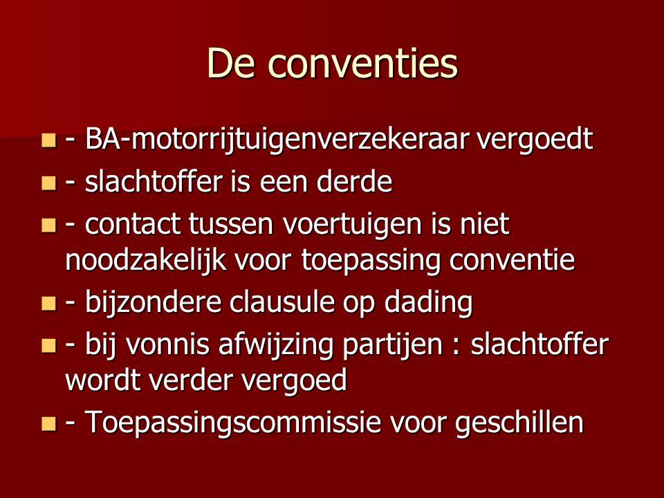 De conventies - BA-motorrijtuigenverzekeraar vergoedt