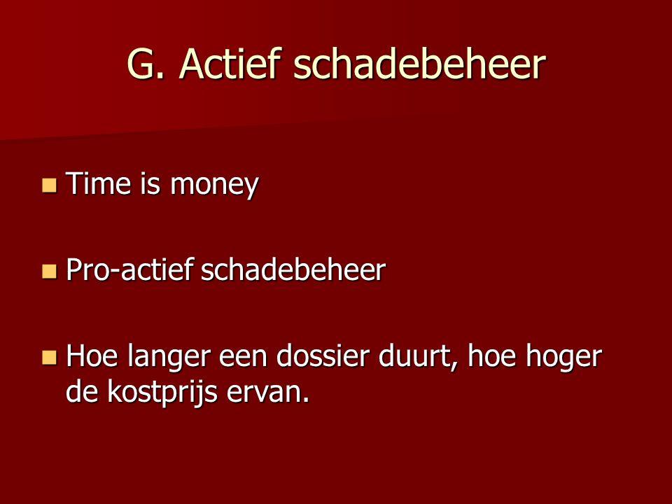 G. Actief schadebeheer Time is money Pro-actief schadebeheer