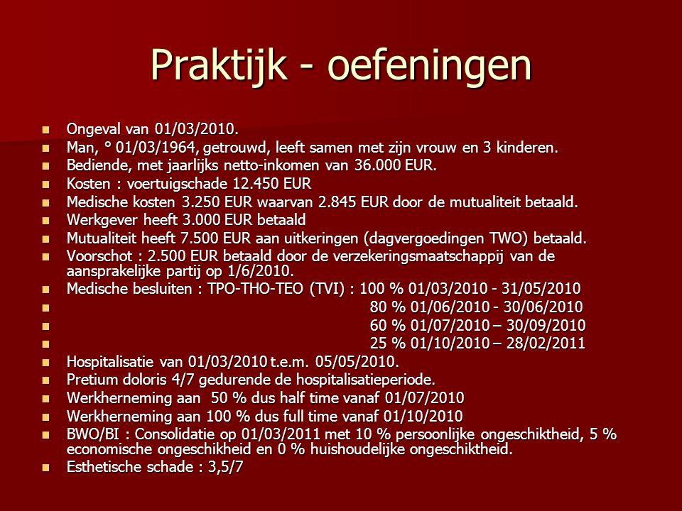 Praktijk - oefeningen Ongeval van 01/03/2010.