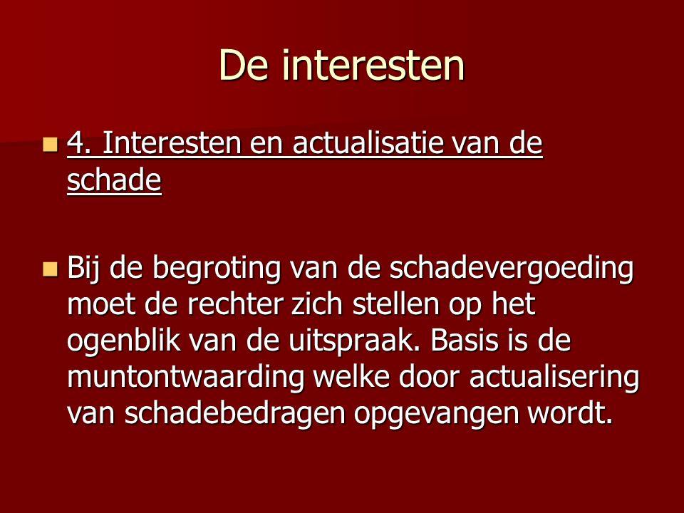 De interesten 4. Interesten en actualisatie van de schade