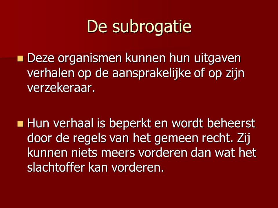 De subrogatie Deze organismen kunnen hun uitgaven verhalen op de aansprakelijke of op zijn verzekeraar.