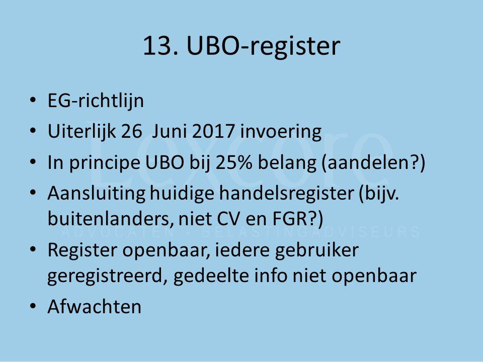 13. UBO-register EG-richtlijn Uiterlijk 26 Juni 2017 invoering