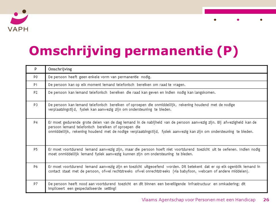 Omschrijving permanentie (P)
