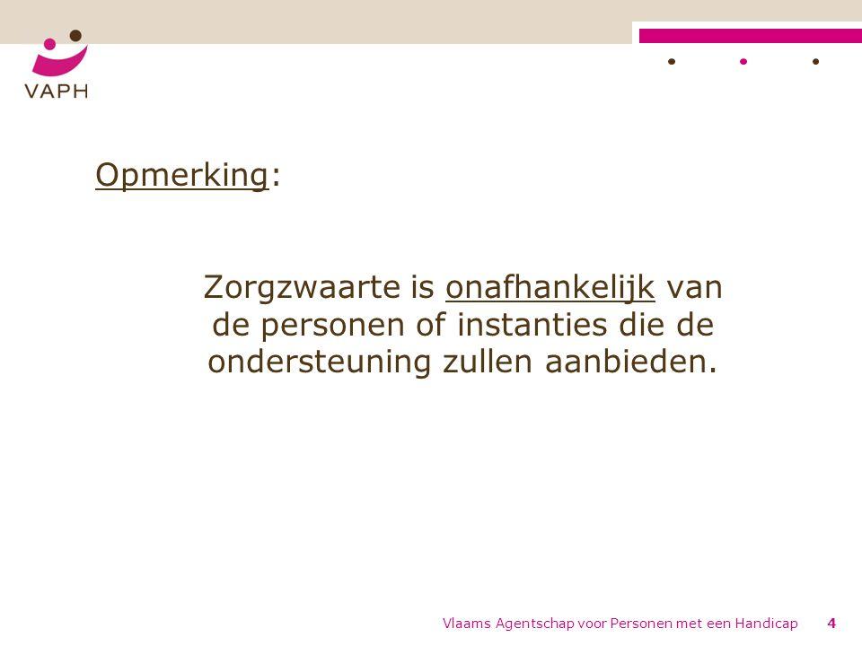 Opmerking: Zorgzwaarte is onafhankelijk van de personen of instanties die de ondersteuning zullen aanbieden.