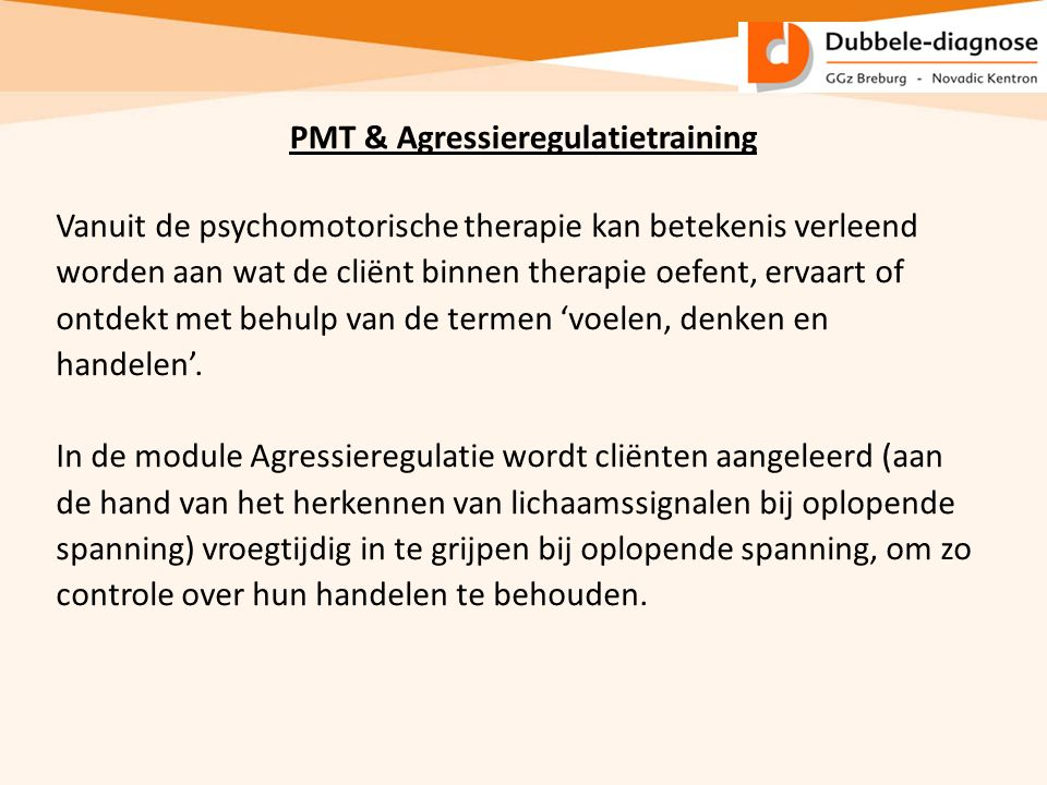 PMT & Agressieregulatietraining