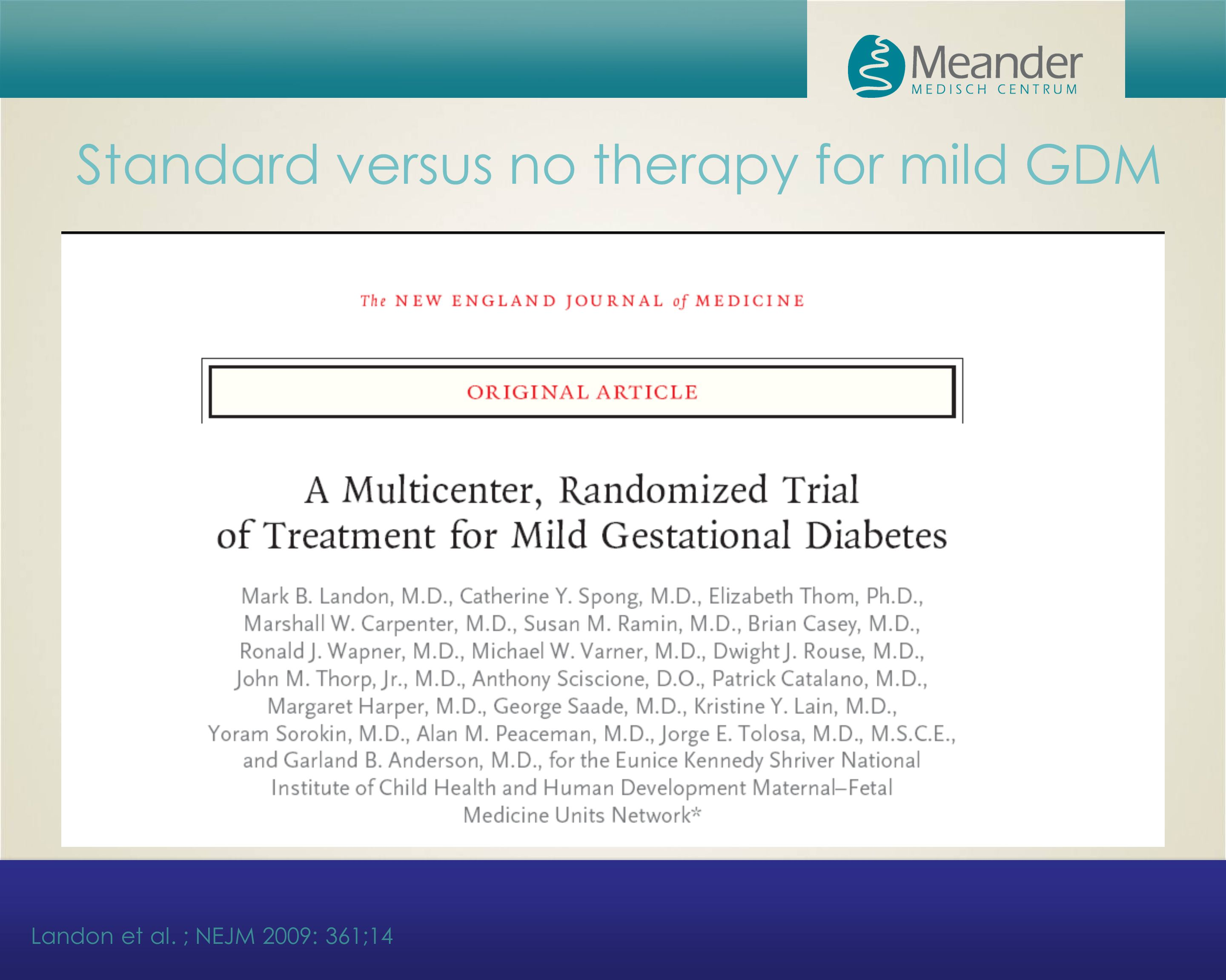 Standard versus no therapy for mild GDM